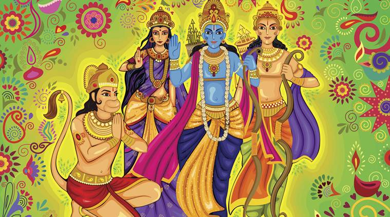 Indian God Rama with Laxman and Sita for Dussehra festival